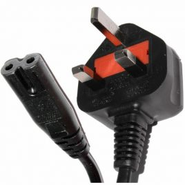 1m Metre Figure 8 Mains Power Cable UK 3 Pin – Black
